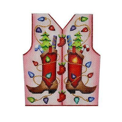 Christmas Vest - Cowboy Boots & Christmas Lights on Pale Pink Painted Canvas Burnett & Bradley