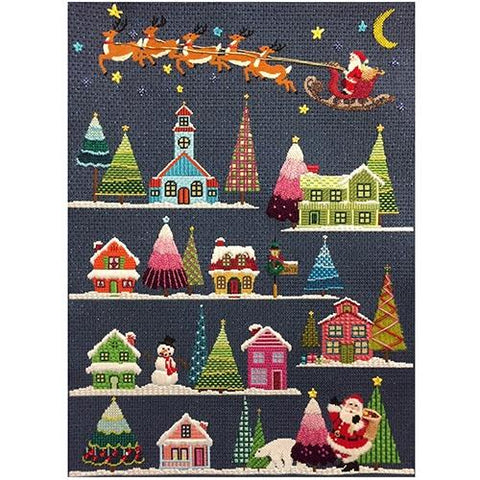 Christmas Village with Stitch Guide Painted Canvas A Stitch in Time