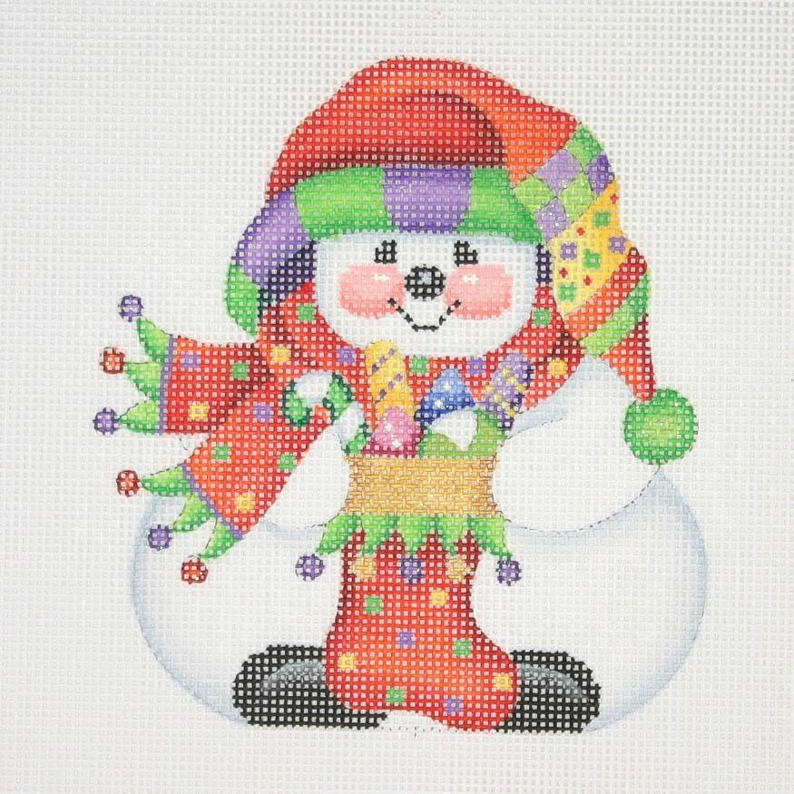 Chubby Sock Hat Snowman Painted Canvas Burnett & Bradley