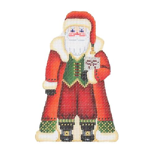 Classic Santa Ornament Painted Canvas Burnett & Bradley