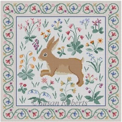 Cluny Rabbit Painted Canvas Susan Roberts Needlepoint Designs Inc.