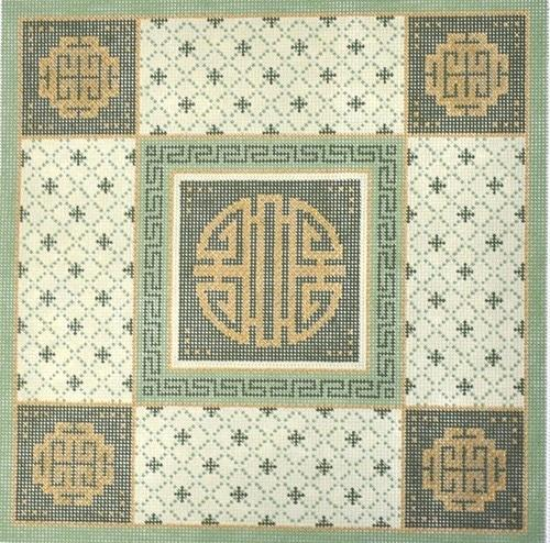 Coins with Green Oriental Border Painted Canvas JP Needlepoint
