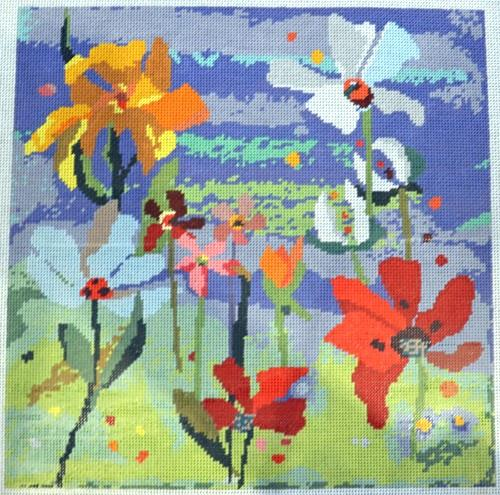 Collage Bouquet - Blue Painted Canvas Birds of a Feather
