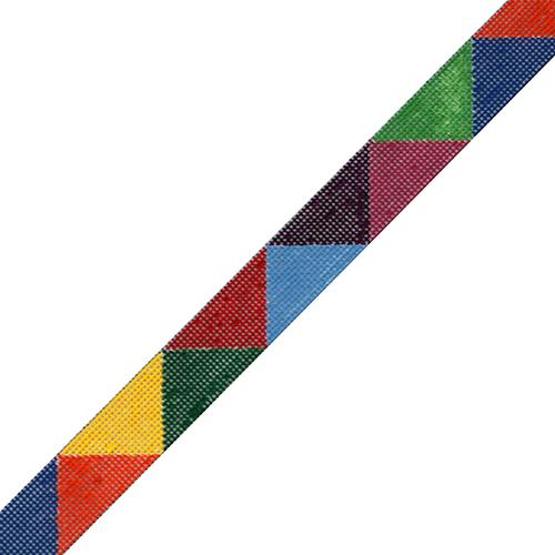 Colored Triangles Belt - Multicolored on 18 Painted Canvas The Meredith Collection