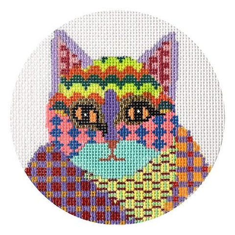 Colorful Cat Round Painted Canvas Patt and Lee Designs