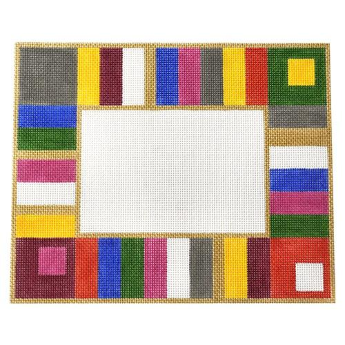 Colorful Stripe Frame Painted Canvas Little Bird Designs