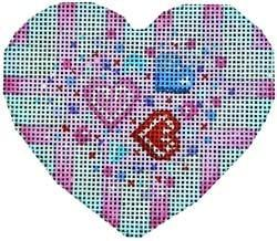 Confetti Stripes Heart Painted Canvas Associated Talents