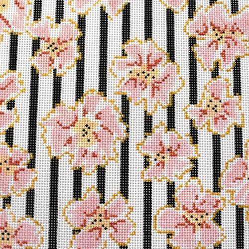Coral Flowers & Black Stripes Painted Canvas The Plum Stitchery