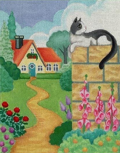Cottage and Cat Painted Canvas Brenda Stofft Designs