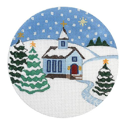 Country Church in Snow Ornament Painted Canvas Julie Mar Needlepoint Designs