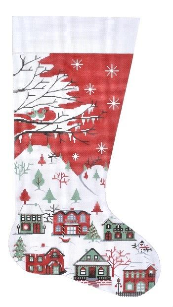 Country Scene Stocking Painted Canvas Alice Peterson