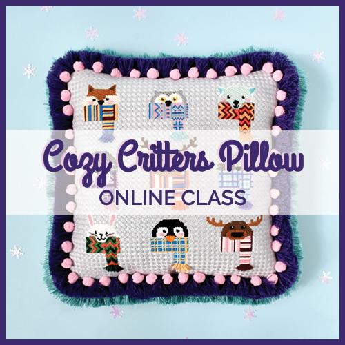 Cozy Critter Pillow Kit & Online Class Online Course Needlepoint.Com