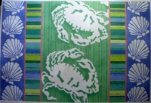 Crab Silhouettes / Stripes / Shells Painted Canvas Associated Talents