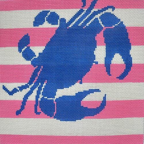 Crab Stencil on Pink and White Stripe Painted Canvas Two Sisters Needlepoint