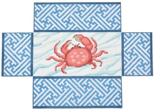 Crab with Chinoisserie Border Brick Cover Painted Canvas Kate Dickerson Needlepoint Collections
