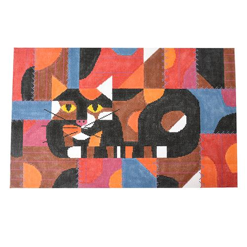 Crazy Cat on 18 Painted Canvas Charley Harper