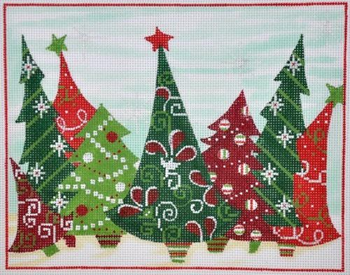 Crazy Christmas Trees Painted Canvas Alice Peterson