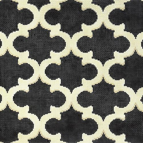 Cream and Black Quatrefoil Painted Canvas Associated Talents