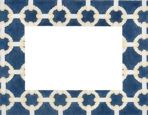 Cream / Navy Modern Link Frame Painted Canvas Associated Talents