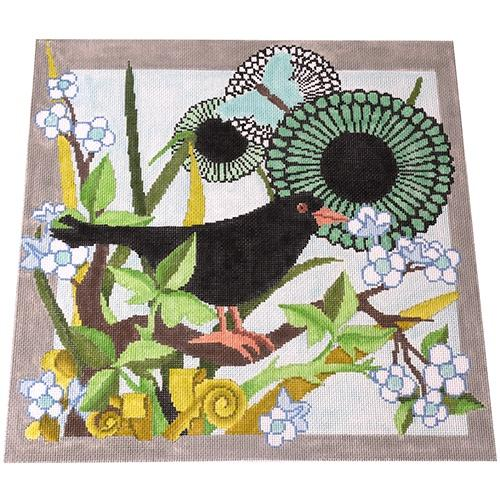 Crow and Flower Painted Canvas The Meredith Collection
