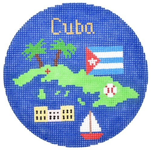 Cuba Ornament Painted Canvas Silver Needle