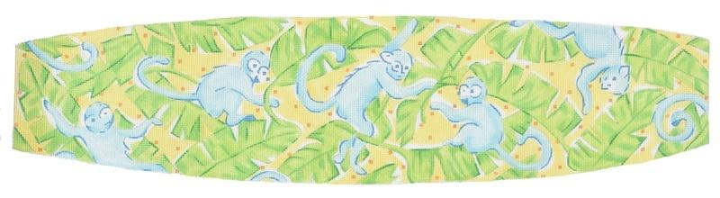 Cummerbund - Lilly Inspired Monkeys & Banana Leaves Painted Canvas Kate Dickerson Needlepoint Collections
