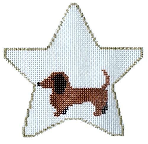 Dachshund Star with Bone Painted Canvas Kathy Schenkel Designs