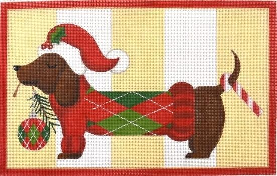 Dachshund Thru the Snow Painted Canvas Raymond Crawford Designs