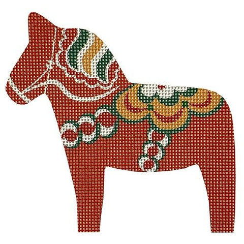 Dala Horse - Traditional Orange-Red Painted Canvas Pepperberry Designs