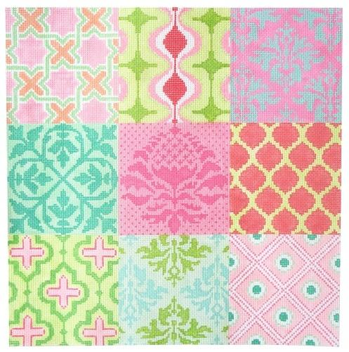 Damask Wallpaper Patchwork - Pinks, Greens, & Turquoise Painted Canvas Kate Dickerson Needlepoint Collections