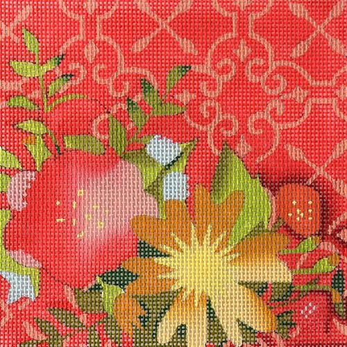 Dark Coral Floral Painted Canvas All About Stitching/The Collection Design