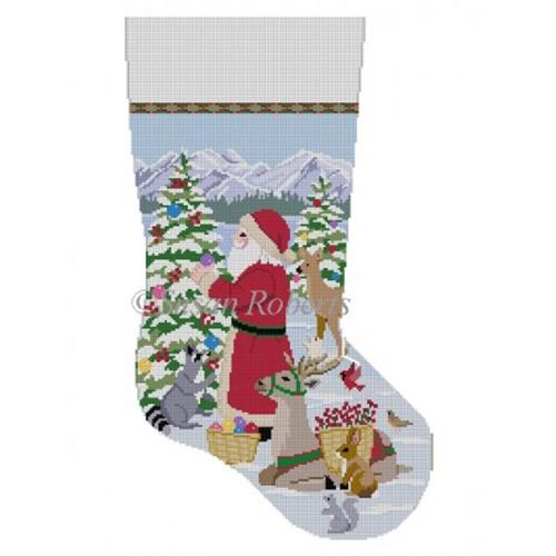 Decorating the Trees Stocking Painted Canvas Susan Roberts Needlepoint Designs Inc.