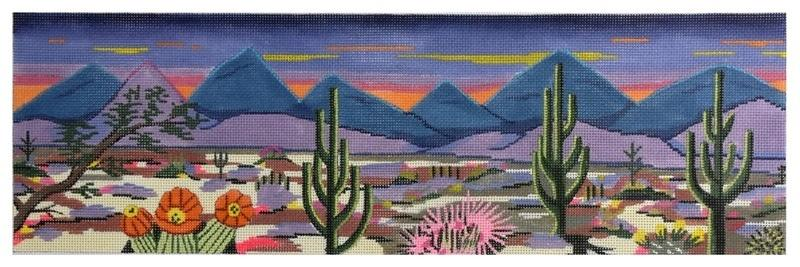 Desert Sunset Painted Canvas Purple Palm Designs