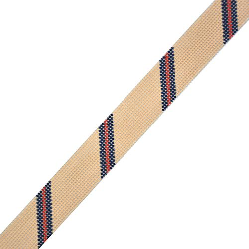 Diagonal Stripe Belt - Camel/Navy/Red on 14 Painted Canvas The Meredith Collection