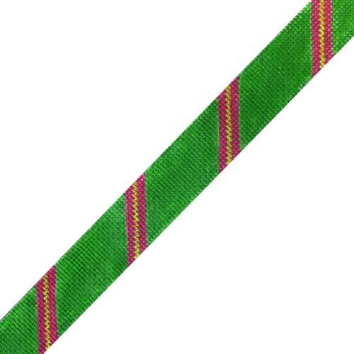 Diagonal Stripe Belt - Grassy/Dark Pink/Lime on 18 Painted Canvas The Meredith Collection