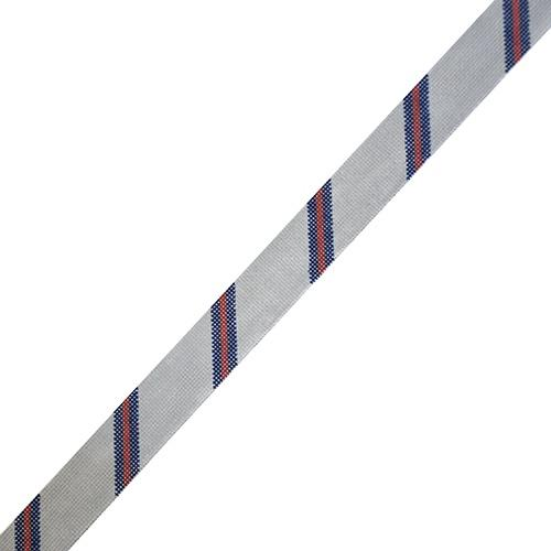 Diagonal Stripe Belt - Gray/Navy/Red on 18 Painted Canvas The Meredith Collection