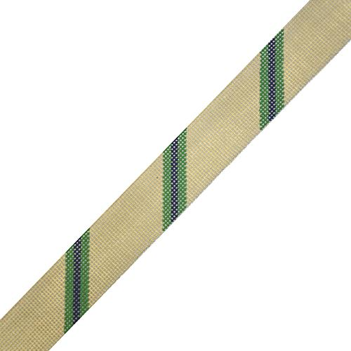 Diagonal Stripe Belt - Khaki/Green/Navy on 18 Painted Canvas The Meredith Collection