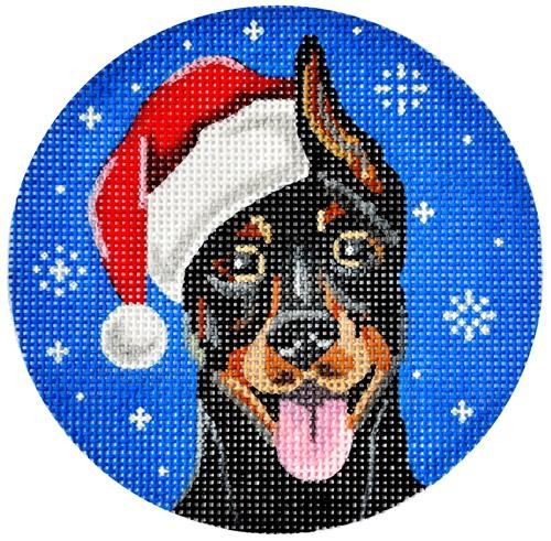 Doberman Santa Painted Canvas Pepperberry Designs