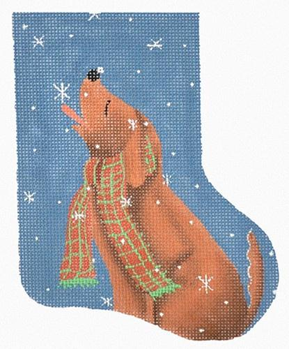 Dog Catching Snowflakes Mini-Stocking Painted Canvas Maggie Co.