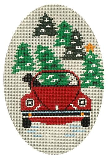 Dog in VW Painted Canvas CBK Needlepoint Collections