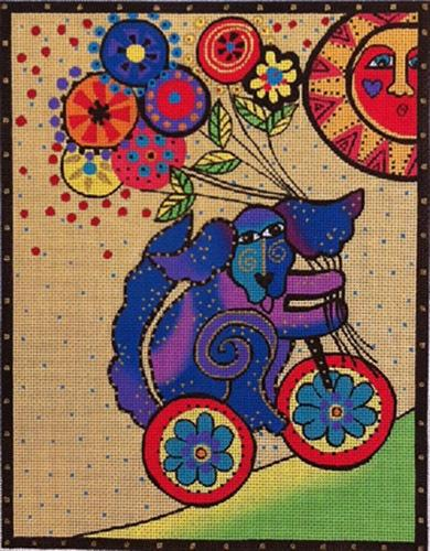 Dog Riding Bicycle Painted Canvas Laurel Burch