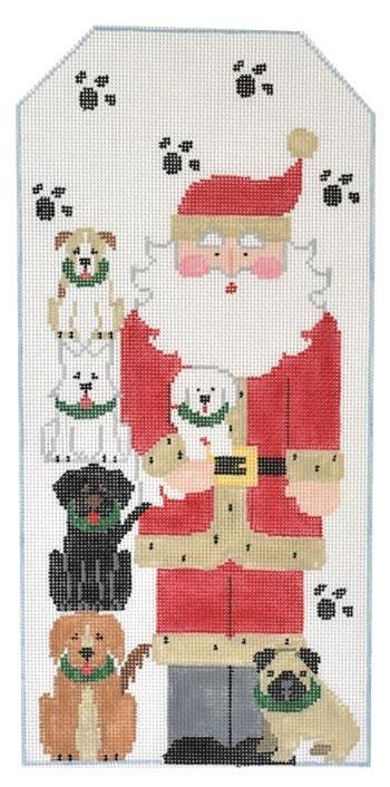Dog Santa with Bone Painted Canvas Kathy Schenkel Designs