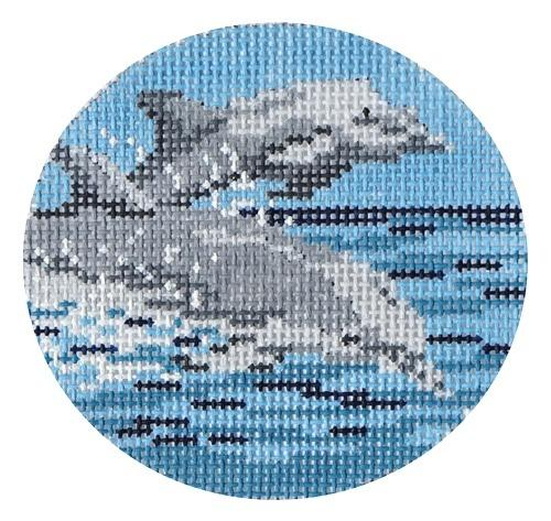 Dolphin Ornament Painted Canvas Needle Crossings