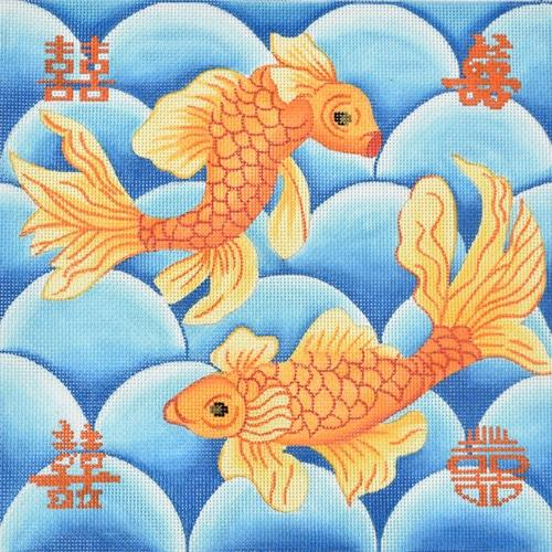 Double Happiness Koi Painted Canvas Kate Dickerson Needlepoint Collections