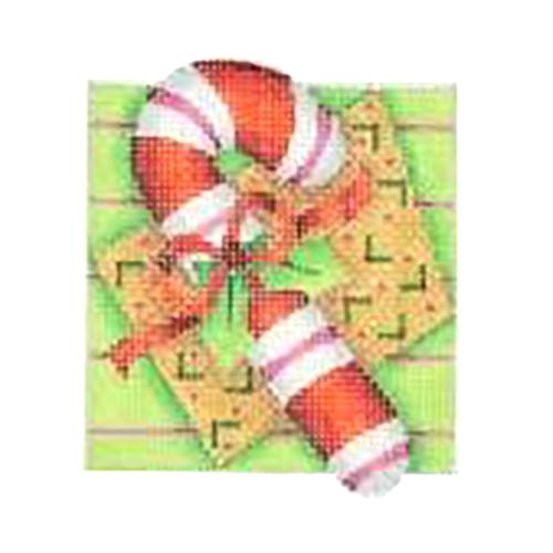 Double Patterned Squares Ornament - Candy Cane Painted Canvas Burnett & Bradley