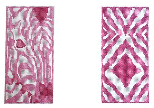 Double Pink Zebra Eyeglass Case Painted Canvas Anne Fisher Needlepoint, LLC