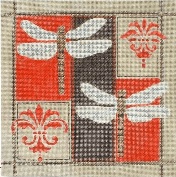 Dragonflies on Black / Red Painted Canvas CBK Needlepoint Collections