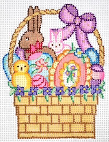 Easter Basket with Purple Bow Painted Canvas Alexa Needlepoint Designs