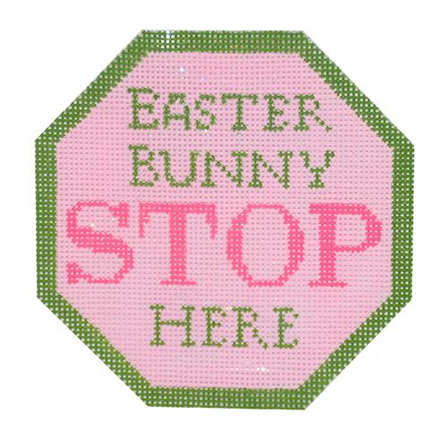 Easter Bunny Stop Here Ornament Painted Canvas Kimberly Ann Needlepoint