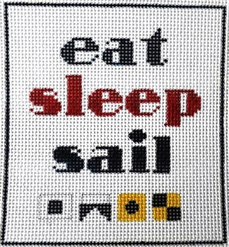 Eat, Sleep, Sail Painted Canvas All About Stitching/The Collection Design